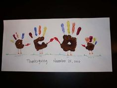 Kids love finger painting and getting a little messy. Encourage a little playful paint fun by creating this handprint turkey poster. Get all the members of the family to give their hand stamp of approval for a nice display of turkeys made by all of your loved ones.