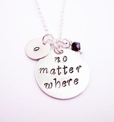 no matter where necklace initial necklace long distance jewelry by RobertaValle