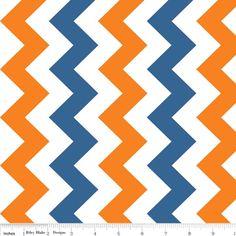 Riley Blake Designs - Chevron - 58 Wide - Medium Chevron in Orange and Blue