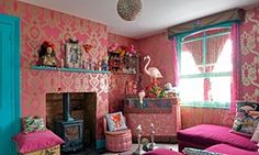 The kitsch bar in the basement with lots of pink