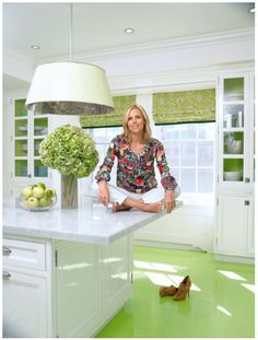 Tory Burches fab white and green kitchen