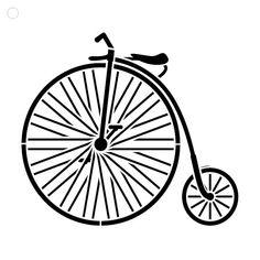 Bicicleta Vintage Big Wheel - arte Stencil - seleccione tamaño - STCL1109 - StudioR12