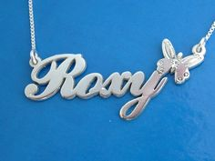 Roxy Style Silver Name Necklace with Butterfly and Crystal Birthstone, Any Name!