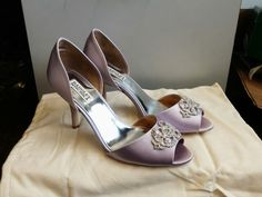 """My wedding shoes came! """"Salsa"""" by Badgley Mischka in lavender satin.  <3"""