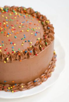 Chocolate Birthday Cake: Devil's Food Cake with Rich Chocolate Buttercream Frosting - The Cake Merchant Devils Food, Cake Recipes, Dessert Recipes, Desserts, Cake Merchant, Chocolate Buttercream Frosting, Buttercream Recipe, Cake Icing, Birthday Cake Decorating
