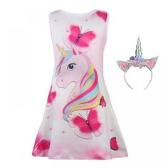 Baby Kids Dresses For Girls Dress Sleeveless Butterfly Unicorn Dress Cartoon Floral Princess Party Dress Birthday Girls Clothes, Ropa de niña, Unicorn Birthday Parties, Birthday Dresses, Girl Birthday, Unicorn Dress Girls, Summer Girls, Girls Dresses, Dresses Dresses, Kids Outfits, Kids Fashion