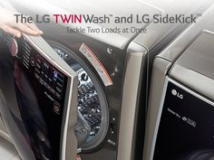 Check out LG's new TwinWash with SideKick washer. Do 2 loads of laundry at once!.