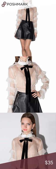 Lolita Sheer Ruffle Blouse With Velvet Tie 100% Nylon 100% SEE THROUGH ;)  S:Length--26.57--Waist--36.22--Shoulder--14.37--Sleeve--22.83  M:Length--27.16--Waist--37.79--Shoulder--14.76--Sleeve--23.22  L:Length--27.75--Waist--39.37--Shoulder--15.15--Sleeve--23.62  XL:Length--28.34--Waist--40.94--Shoulder--15.55--Sleeve--24.01  XXL:Length--28.93--Waist--42.52--Shoulder--15.94--Sleeve--24.40  Boutique items are NWOT direct from makers  Please GO BY MEASUREMENTS not by size, if you are…