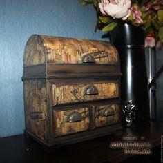 Купить Ларец для украшений Авиатор - коричневый, мини-комод, мини-комодик, комод для украшений