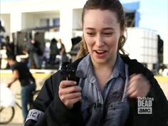Alycia practicing with her knife (as seen on The Talking Dead)