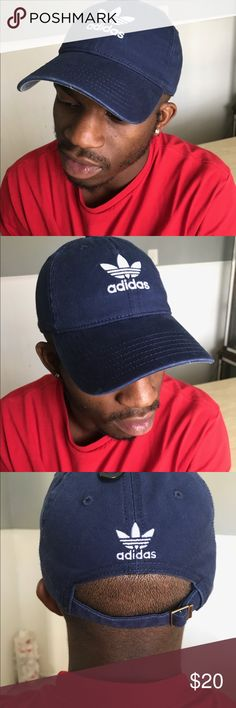 BRAND NEW ADIDAS HAT NAVY BLUE Adidas Men's Originals Relaxed Plus Strapback Hat / Navy Blue Hat 🧢  Never worn before   Brand new   True to size   Adjustable strap   Looks really clean and icy ❄️  Paid $24.00 plus Tax adidas Accessories Hats