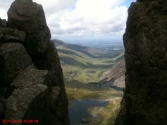 View of Llyn Idwal, Nant Ffrancon and Bangor in the distance, taken from Bristly Ridge going up Glyder Fach