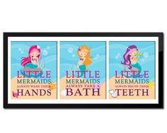 mermaid Bathroom Decor Set of 3 Little Mermaid Bathroom Rules Girls Bathroom Girl Bathrooms, Bathroom Rules, Bathroom Decor Sets, Bathroom Kids, Kids Bath, Basement Bathroom, Bathroom Remodeling, Little Mermaid Bathroom, The Little Mermaid