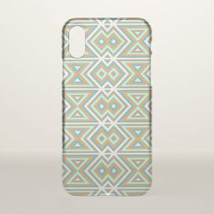 Orange Teal Turquoise Green Tribal Mosaic Pattern iPhone X Case - modern gifts cyo gift ideas personalize