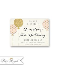 Pink And Gold 80th Birthday Invitations For Her A Woman Turning 80 Milestone Birthdays 70th 60th 50th Or Any Age Party Balloons