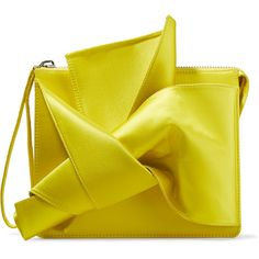 No. 21 Knot satin clutch ($810) ❤ liked on Polyvore featuring bags, handbags, clutches, yellow, satin clutches, neon handbags, satin purse, neon clutches and zip handbag