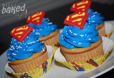Superman Birthday Cupcakes were a hit. Had my friend Mandy Anderson make the fondant S's and I did the icing etc.blue mouths all around but yummy for sure Superman Birthday Party, 6th Birthday Parties, Baby First Birthday, Birthday Cupcakes, Birthday Fun, Birthday Ideas, Bolo Do Superman, Superman Cakes, Superhero Cake