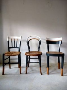 Set of 6 vintage mismatched vintage chairs / Cook Ensemble de 6 chaises anciennes dépareillées vintage / Cuisine / bistrot reloo… Set of 6 old mismatched vintage chairs / Kitchen / reloo bistro … - Decor, Kitchen Chairs, Interior, Painted Furniture, Upcycled Furniture, Furniture Chair, Home Decor, Furniture Makeover, Vintage Chairs