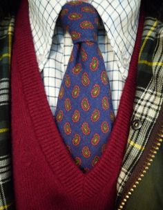Barbour Border today. Lambswool English sweater, tattersall & a challis tie.