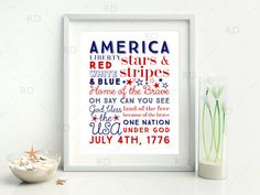 4th of July Subway Typography Art  PRINTABLE Wall by RissDesign
