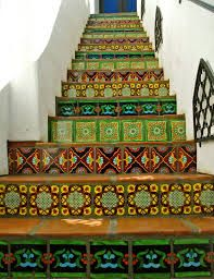 Green tiled staircase - Mediterranean