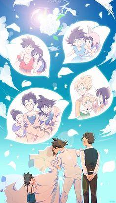 Goku, Chichi, Gohan, and Goten Dragon Ball Z, Dragon Ball Image, Goten Y Trunks, Figurine Dragon, Gohan And Goten, 17 Kpop, Manga Anime One Piece, Card Captor, Cute Dragons