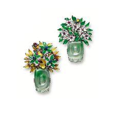Pair of multi-colour jadeite, gem-set and diamond 'Spring and Autumn' brooches
