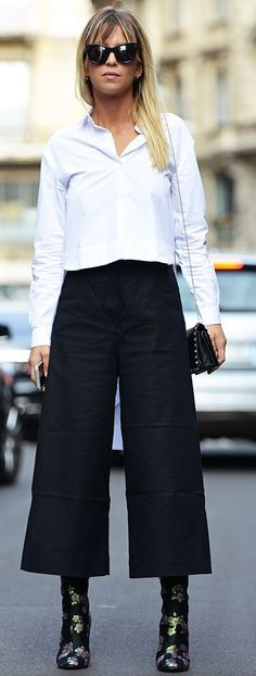 Carolines Mode Carola White Crop Button Up On Back Culottes Fall Street Style Inspo #Fashionistas