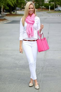White pants, white shirt, pink skirt, pink purse - love the pop of pink!