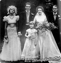 The wedding of Laurence Olivier and Jill Esmond Moore, Olivier's first wife, in 1930. Her romantic dress with its neat, circular neckline is elegant and simple compared with the fussy Victorian-style dress of the woman on the left.
