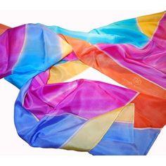 Seda pintada a mano inspirada en la misma escultura sobre el mismo Pez , en abstracto.