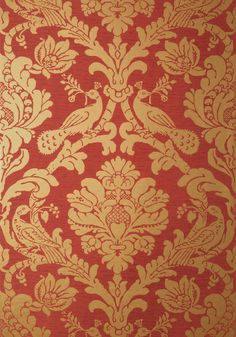 DAMASK, Metallic Gold on Red, Collection Damask Resource 4 from Thibaut Paisley Wallpaper, Wallpaper Stencil, Damask Wallpaper, Pattern Wallpaper, Curtain Patterns, Wall Patterns, Textile Patterns, Damask Curtains, Damask Decor