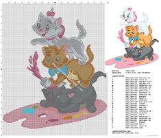 Disney Les Aristochats Marie Toulouse et Berlioz grille point de croix couverture bebe