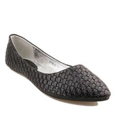 Woven leather flats