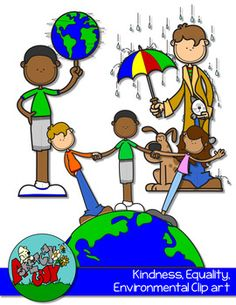 Kindness, Environmental, Equality Clipart FREEBIE Included are 10 Color and 9 Black and White / Black Lined Transparent  19 Items Total.