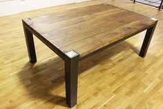 6ft Hugh industriale rovere e acciaio tavolo di Russelloakandsteel