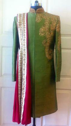 moss green sherwani by sagar tenali.