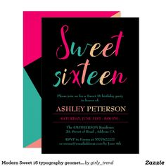 Modern Sweet 16 typography geometric color block Card