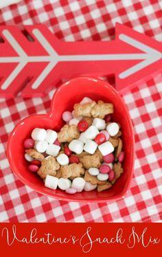 Super Simple Valentine's Day Snack Mix for Kids - The Chirping Moms, Valentine school snack, easy Valentine dessert, Valentine m&m, teddy graham recipes, simple snack mix, Valentine's Day