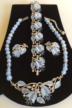 TRIFARI 'Alfred Phillipe' Blue MOONSTONE FRUIT SALAD Necklace Bracelet Earrings in Jewelry & Watches, Vintage & Antique Jewelry, Costume, Designer, Signed, Sets | eBay