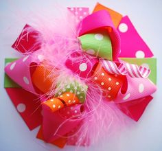 boutique FUNKY fun TUTTI FRUITY hair bow clip by andjane on Etsy, $12.99
