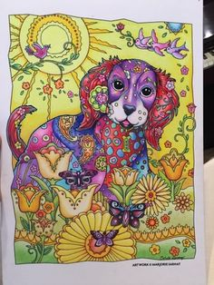 Dazzling Dogs - Creative Haven Dog Coloring Page, Adult Coloring Pages, Coloring Books, Watercolor Illustration Tutorial, Crayon Crafts, Love Doodles, Polychromos, Coloured Pencils, Illustrator Tutorials