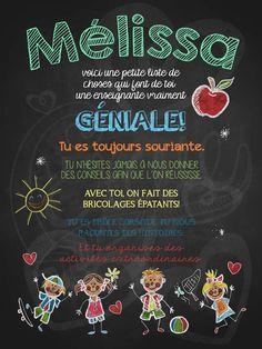 Affiche personnalisée Enseignante géniale! | 15,00$ #lacraieco #chalkboard #cadeau #professeur #ecole
