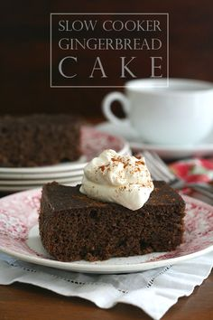 Gingerbread Cake baked in your Slow Cooker or Crockpot! This one is healthy, made without gluten or sugar without sacrificing any flavour!