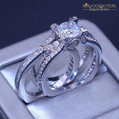 Silver Bridal Ring Set