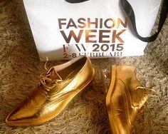 Simone Rocha gold loafers with plexiglass heel