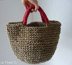 Image of Patron Sac cabas en corde au crochet Easy Knitting, Loom Knitting, Knitting Patterns Free, Crochet Patterns, Diy Crochet Hook, Crochet Rope, Knit Crochet, Patron Crochet, Rope Basket