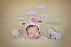 Lamb Bonnet Crochet Baby Hat - Gender Neutral - Crochet Photography Prop - Size Newborn by Giggled Pink