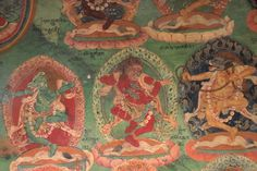 Zongdag Lukhang Temple murals of yogis engaged in their exercise