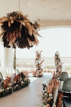 Eclectic boho florals in dusty pink and blue, toffee and black with dried palms. Photo: @brogenjessup Wedding Mood Board, Tent Wedding, Our Wedding, Wedding Decor, Wedding Ceremony, Reception, Pastel Wedding Colors, Cute Wedding Ideas, Wedding Inspiration